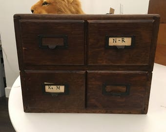 4 Drawer Dark Oak File Cabinet Stackable Organizer Vintage Library Card Catalog Desk