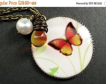 SUMMER SALE Fiery Butterfly Necklace. Butterfly Pendant with Wire Wrapped Teardrop and Fresh Water Pearl. Handmade Jewelry.