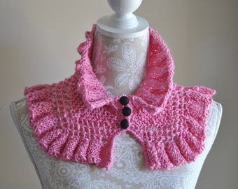 Bright Pink Knit Neckwarmer, Ruffled Silk Scarf, Lightweight Ribbed Scarf, Hand Knit OOAK gift
