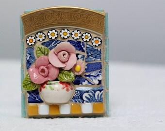 FLORAL BOUQUET mosaic, pique assiette, mosaic art