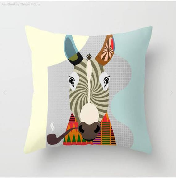 Donkey Pillow, Donkey Gift, Donkey Print, Donkey Decor, Animal Pillow, Animal Gifts, Animal Pillow, Donkey Lover Gift