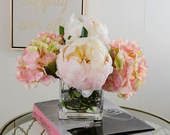 Finest Quality Silk Hydrangeas and Large Peonies Arrangement using Artificial Faux Silk Flowers Square Glass Vase for Home Decor