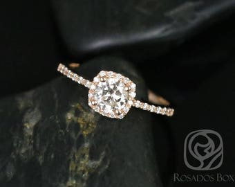 Rosados Box Barra 1/2ct 14kt Rose Gold Round Diamond Cushion Halo Engagement Ring