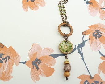 Gear Pendant, Flower Charm Chain Necklace, Ceramic Necklace, Green Necklace, Summer Jewellery, Gift for Women