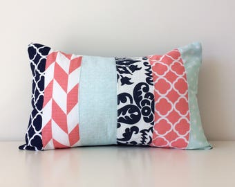 Navy, White, Teal, Coral Pink, Lumbar Pillow Cover, Modern Decor, Patchwork, 12x18, Mixed Patterns, Geometric, Floral, Girls Nursery