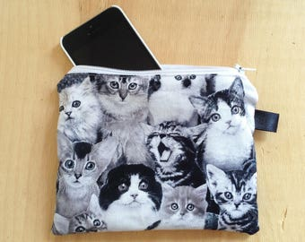 Cat Zipper Pouch - Cat Collage Fabric Pouch - Coin Purse - Credit Card Pouch - Accessories - iPhone Pouch, Group of Kittens, Kitties