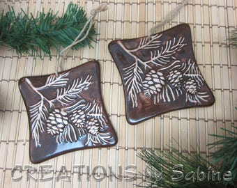 Ceramic Pine Cone Wall Hanging Plaque Pine Tree Branch Brown Beige Handmade Christmas Rustic Cabin Tile Decor Vintage FREE SHIPPING (688+689