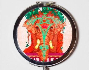 Indian Elephant Compact Mirror - Spiritual New Age Spirituality India - Make Up Pocket Mirror for Cosmetics