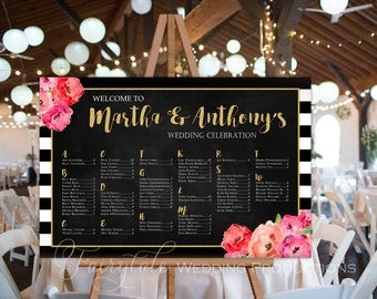 Custom Black & White Stripe Gold Floral Rustic Wedding Reception Guest Seating Chart Watercolour Peonies Flowers - DIY Printable Poster Sign