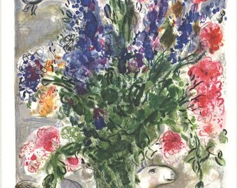Marc Chagall-Les Lupins Bleus (after)-1988 Poster