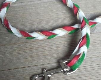 Braided Bullhide lead, Green, red and white ,  Italian flag, leather, handmade leash