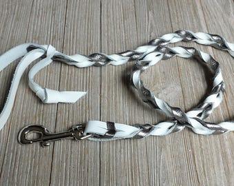 Braided leash, Gun Metal and White, Braided Leather Leash