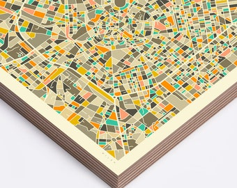 MILAN MAP (Ready to Hang, Birch Wood Print for your Home Décor)