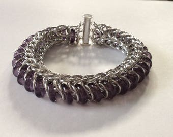 Purple Glass Caterpillar Bracelet