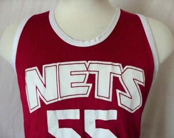 vintage 90's New Jersey Nets Jason Williams #55 maroon red nylon mesh basketball jersey white trim tank top sleeveless graphic tshirt medium