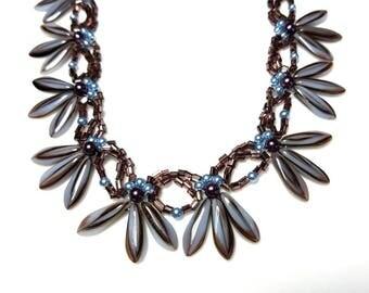 blue pearl gray dagger spike beaded necklace modern purple seed beads jewelry woven beadwork necklace art deco gift for her necklace for her