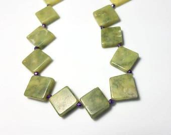 diamond shaped green serpentine gemstone necklace chunky funky necklace statement stone necklace purple green jewelry bold beaded jewelry