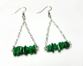 green Aventurine chip gemstone silver chain earrings hypoallergenic earrings nickel free earrings long dangle drop jewelry gifts for her