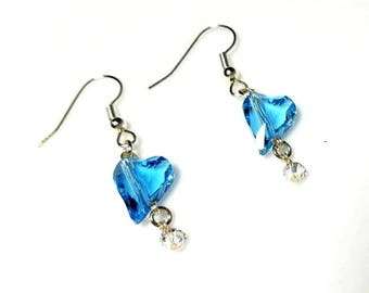 Aquamarine Swarovski Crystal Heart Dangle Earrings Hypoallergenic Earrings Nickel Free Earrings Blue Silver Drop Earrings Valentine's Day