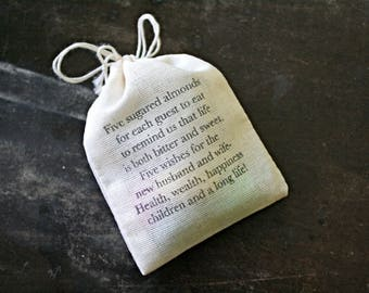 For Lauren- RUSH Wedding favor bags, set of 70. Personalized Jordan Almond bags with traditional poem.