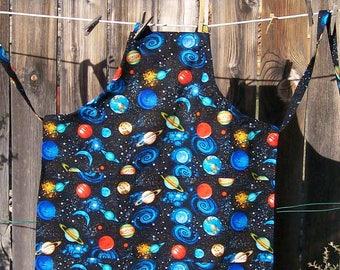 Youth Solar System Black Butcher Apron - Galaxy Apron - Youth Size 10-12