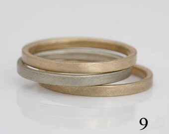 3 slender 14k gold bands, size 9 and custom sizes, stacking bands, two yellow and one white, #426.