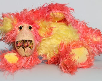 Suzy Sizzles, a cuddly, comical and colourful, one of a kind, artist teddy bear in gorgeous shaggy hand dyed mohair by Barbara-Ann Bears.