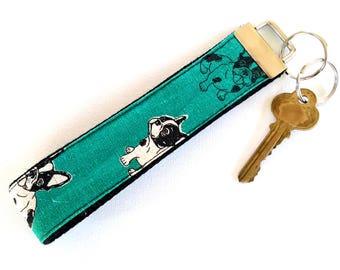 Black Cotton webbing Wristlet Key Fob - French Bulldog Turquoise