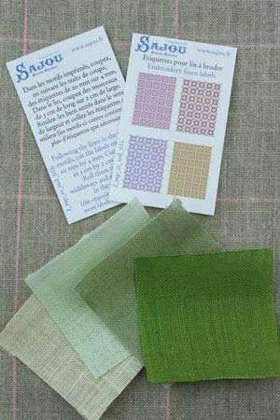 Sajou Miniature Linen assortment Yellow/green for the doll parlor, Dollhouse Miniatures, # 39105