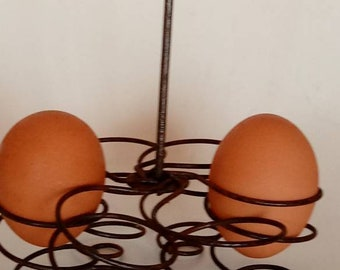 Vintage Wire Egg Holder French Country Kitchen Primitive