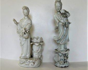 "2 Vintage ceramic Chinese figurines, incense burner, green glaze, Chinoiserie, 12"" tall, Geisha figurine, Asian decor, gift idea"