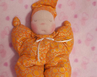 SALE! Fretta's Waldorf style Sleepy Baby doll, Baby's First doll, Butterfly doll