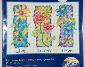 Live, Learn, Love -- Small Counted Cross Stitch Kit