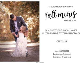 Fall Photography Marketing Templates, 7x5in Fall Mini Session Board, Newsletter Ad, Photography Templates