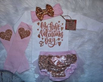 My first Valentine's Day girl outfit-  1st valentines outfit girl-  1st  Valentines's day Outfit- Pink  and gold sequin Bloomers