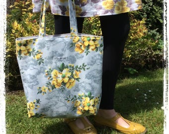 Vintage fabric tote bag - floral grey yellow