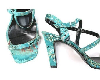 90s Red or Dead  Chinese Turquoise Heels us7 euro38