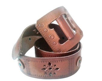 1970 tooled cut out leather BELT leather buckle