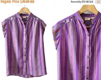 Less 25% 1970s Indian Gauze  purple Tunic René Derhy small / 70s purple & gold stripes tunic /70s summer hippie  top