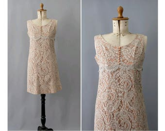 1950s Lace Dress gray and aprikose small /50s lace dress 2 tones