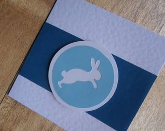 Small blue bunny card. Individually handmade greetings card. Suitable for any occasion