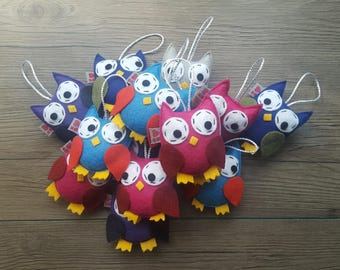 Woodland Ornament, Owl Decoration, Forest Friends, Baby Shower Theme, Nature Art, Hanging Plush, Kids Bedroom, Set of 5, MADE TO ORDER