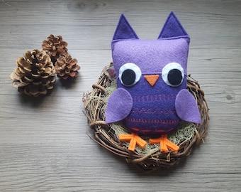 Felt Owl Baby, Plush Toy, Purple Baby Shower, Party Prize Gift, Housewarming, Shelf Keepsake, Woodland Decoration, BirdLover