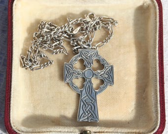 Sterling Silver Vintage Celtic Cross Pendant and Chain 925 Silver