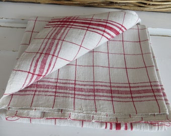 "German Large Thickly Handwoven Linen Red Stripes  Towel Runner Dish Cloth Never Used 29 "" by 34  Upholstery Garden Fabric Vintage Shabby"