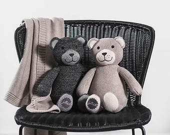 Soft Toy Teddy Bear Grey Anthracide Sand Brown Knitted