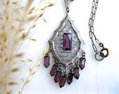 Edwardian Jewelry | Downton Abbey Earrings, Necklaces, Rings Edwardian Filigree Lavalier Pendant Purple Glass Fringe Drops Early 1900s Antique Silver Rhodium Paperclip Fine Chain $88.00 AT vintagedancer.com