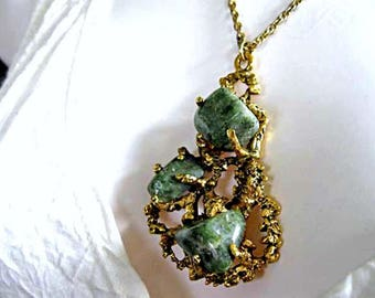 Brutalist Brass Pendant, Jasper Quartz Nuggets Polished Green Stones, Freeform Tree Branch Bark Prongs, Hand Wrought Artisan Necklace