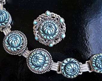 Blue Celluloid Flower Bracelet and Brooch, Molded Smoky Slate Dahlia Peony Hibiscus Floral Blossoms, Silver Disc Links Rope Twist Frames