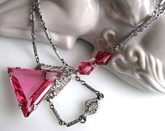 Antique Lavalier Edwardian Pendant, Silver Rhodium Filigree, Pink Glass Triangle, Patent 1908, Crystal Chain Accents